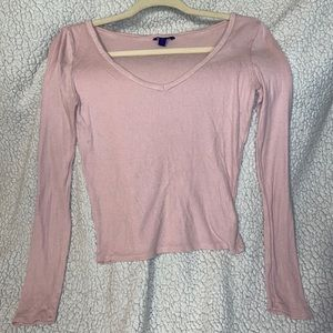 Baby Pink V-Neck Long Sleeve Shirt